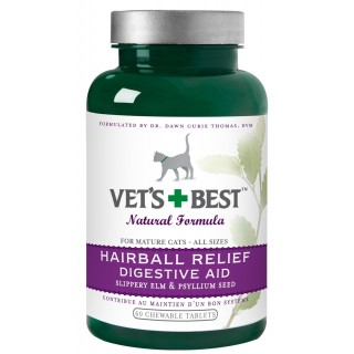 Vet's + Best Hairball Relief Digestive Aid x 60's For Mature Cats- All Sizes Cat Supplement