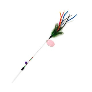 Amy Carol Feather on Stainless Stick Cat Teaser (Multicolored w/ Beads and Bell)
