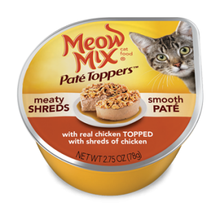 Meow Mix Pate Toppers with Real Chicken & Shreds of Chicken 78g Cat Wet Food