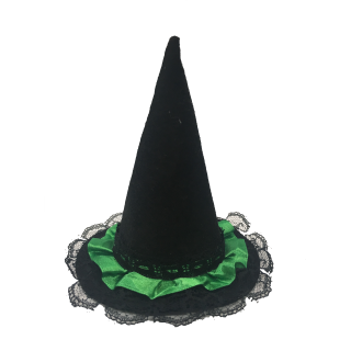 Babymoon Costume Witch Hat Classic Black with Green Lace Pet Accessory