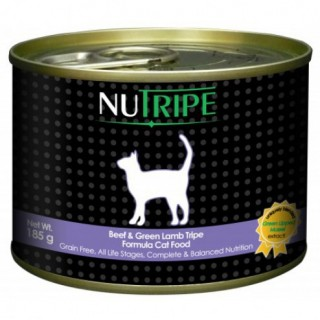NuTripe Beef & Green Lamb Tripe 185g Grainfree Cat Wet Food