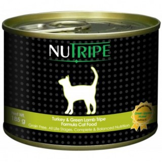 NuTripe Turkey & Green Lamb Tripe 185g Grainfree Cat Wet Food
