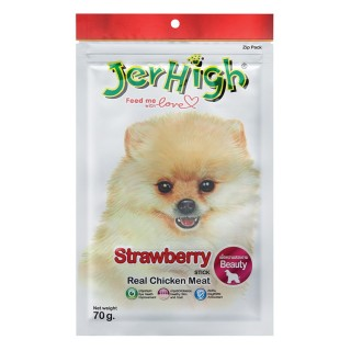 Jerhigh Strawberry Real Chicken Meat Stick 70g Dog Treats