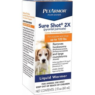 PetArmor Sure Shot 2x Liquid Wormer for Puppies & Dogs 60ml