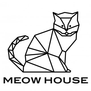 Meow House Cat Cavern with Round Bed