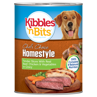 Kibbles 'n Bits Tender Slices with Real Beef, Chicken and Vegetables in Gravy 374g Dog Wet Food