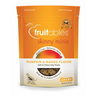 Fruitables Skinny Minis Pumpkin & Mango 5oz Chewy Grain- Free Dog Treats