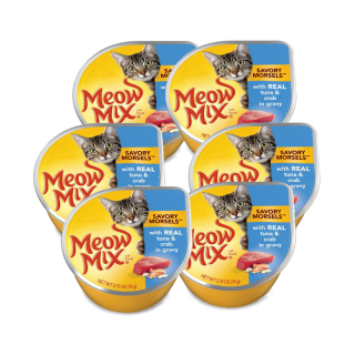 PROMO 5+1 BUNDLE PACK Meow Mix Savory Morsels with Real Tuna & Crab in Gravy 78g Cat Wet Food