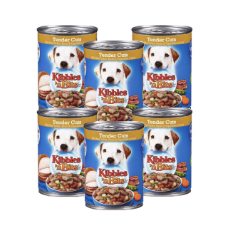 PROMO 5+1 BUNDLE PACK Kibbles 'n Bits Tender Cuts with Real Turkey, Bacon & Vegetables in Gravy 374g Dog Wet Food