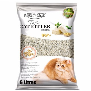 Love Sand Tofu 6L Flushable Clumping Cat Litter - Green Tea Scent