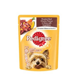 Pedigree Roasted Beef Chunks Flavor in Gravy with Vegetables 80g Dog Wet Food