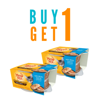 BUY 1 TAKE 1 Meow Mix SIMPLE SERVINGS (2 single serve cups) with REAL TUNA & SALMON IN SAUCE 74g (37g per cup) Cat Wet Food