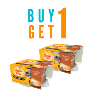 BUY 1 GET 1 Meow Mix SIMPLE SERVINGS with REAL CHICKEN & TURKEY IN GRAVY Cat Wet Food