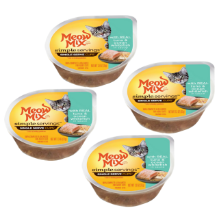 BUY 1 GET 1 Meow Mix SIMPLE SERVINGS with REAL TUNA & OCEAN WHITEFISH IN SAUCE Cat Wet Food