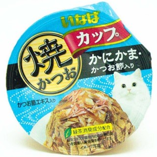 Inaba Yaki Katsuo Cup Tuna in Gravy Topping Crabstick & Sliced Bonito 80g Cat Wet Food (IMC102)