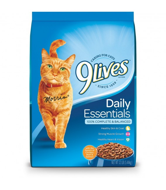 9 Lives Daily Essentials - Salmon, Chicken & Beef 13.3lb (6kg) Cat Dry Food