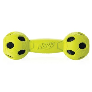 Nerf Dog Rubber Wrapped Bash Barbell Green Medium 7 inches Dog Toy