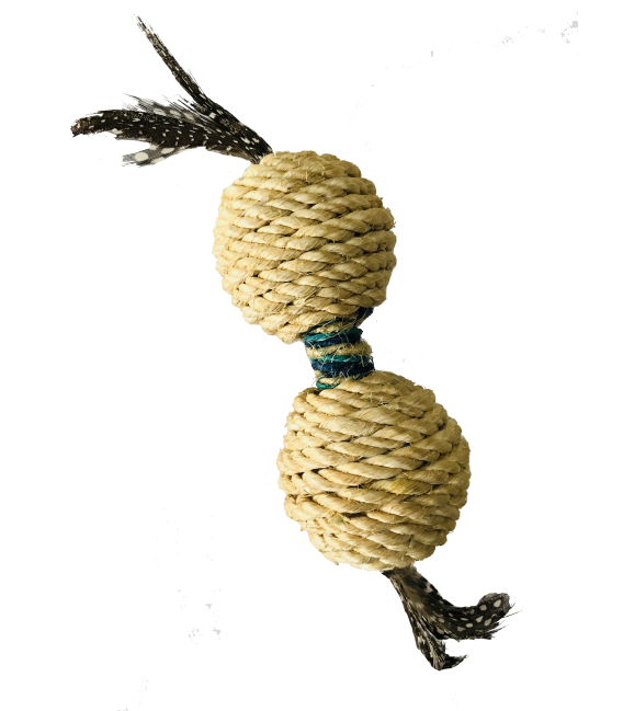 Hagen Crazy Claws Sisal Rope Dumbell with Feather Cat Toy CT-07
