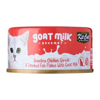 Kit Cat Goat Milk Gourmet BONELESS CHICKEN SHREDS & SMOKED FISH FLAKES with Goat Milk 70g Grain Free Cat Wet Food