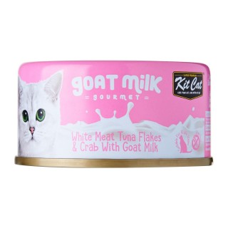 Kit Cat Goat Milk Gourmet WHITE MEAT TUNA FLAKES & CRAB with Goat Milk 70g Grain Free Cat Wet Food
