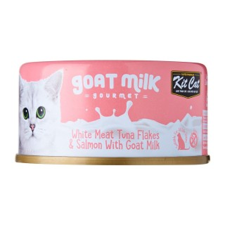 Kit Cat Goat Milk Gourmet WHITE MEAT TUNA FLAKES & SALMON with Goat Milk 70g Grain Free Cat Wet Food