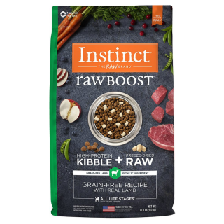 Instinct Raw Boost Grain Free Recipe with Real Lamb 9.0kg (20lb) High Protein Kibble + Freeze Dried Raw Cat Food