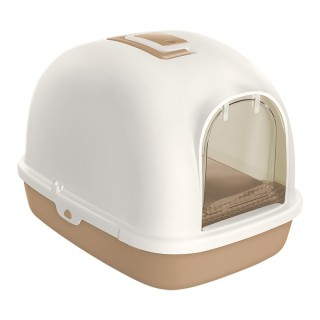 Tom Cat Large HOODED Cat Litter Box with Foot Step - WHITE