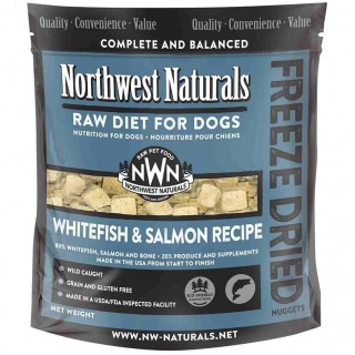 Northwest Naturals RAW DIET for Dogs - Freeze Dried Nuggets WHITEFISH & SALMON RECIPE 340.19g (12oz)