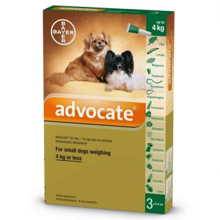 Advocate Flea & Tick Spot On for Small Dogs 4kg or less (3 x .4ml pipettes)