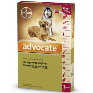 Advocate Flea & Tick Spot On for Large Dogs 10kg to 25kg (3 x 2.5ml pipettes)