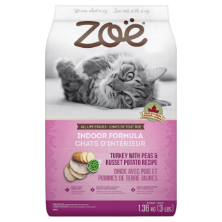 Zoe Cat Indoor Formula Turkey with Peas & Russet Potato Recipe 1.3kg Cat Dry Food